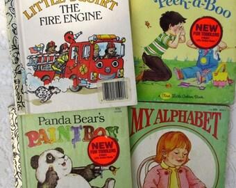 SUMMER SALE 20% Off Collection of 4 First Little Golden Books Vintage Fire Engine, Panda Bear's Paintbox, My Alphabet, Play Peek-A-Boo