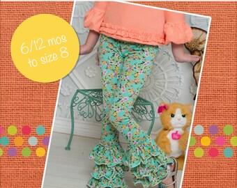 Kelsey's triple ruffle leggings PDF Pattern sizes 6-12 months to 8