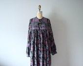 1970s India cotton dress . vintage 70s black peacock print dress