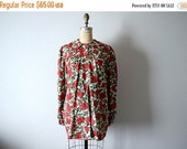 SALE 1940s smock top . vintage 40s red roses blouse