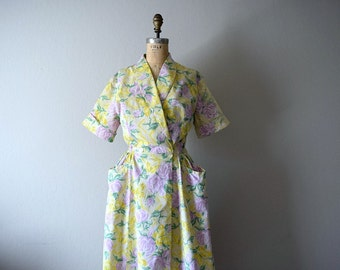 Swirl wrap dress . 1940s 1950s rose and butterfly print dress
