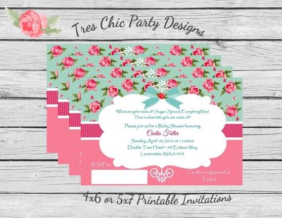 shabby chic invitation/ printable baby shower invites/ shabby, Baby shower invitations