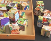 Vintage Wooden Puzzle - Wooden Puzzle Blocks -Six Different Puzzles in a Wooden Box -  Vintage Games Toys - Eichhorn Germany