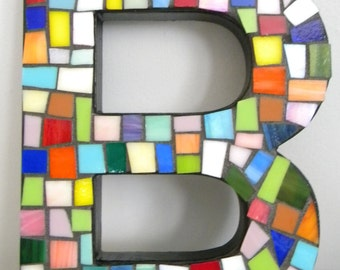 MOSAIC Alphabet Letter B - Multi-color Stained Glass Art