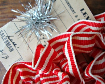 French Country Red and Cream Stripe Ruffle Ribbon Trim