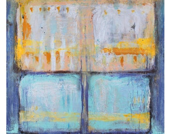 "Art Painting Acrylic painting Canvas painting Original painting Blue painting Yellow painting ""Windows"" 36""x36"""
