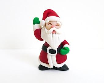 Vintage Miniature Santa with Green Gloves - Christmas Decoration - Putz Santa - Wreath Supply - Dollhouse Christmas - Jewelry Supply