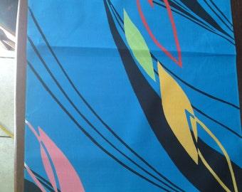Japanese kimono blue cotton yukata fabric retro pop 1980's style abstract 92 cm x 14cm