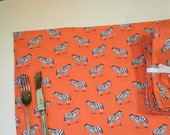 Orange Cloth Napkins- Set -Black White Zebra on Orange Salmon background