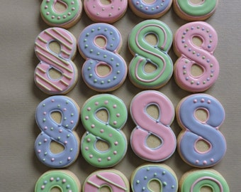 Number 8 Hand decorated sugar cookies for Birthdays (#2594)