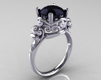 Modern Vintage 10K White Gold 2.5 Carat Black Diamond Wedding, Engagement Ring R167-10KWGDBD