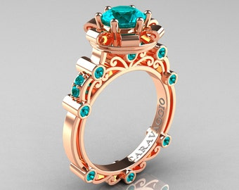 Caravaggio 14K Rose Gold 1.0 Ct Blue Zircon Engagement Ring R631-14KRGBZ
