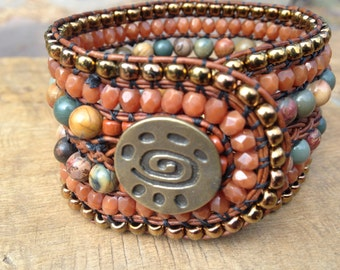 Earth Tone Red Creek Jasper Beaded Cuff Bracelet with Spiral Button