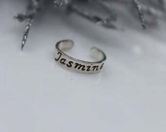 Personalized Toe Ring- Sterling Silver Hand Stamped Toe Ring