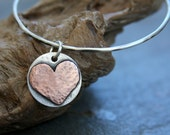 sterling silver bangle bracelet with sterling and copper heart disc, bangle bracelet, stacking bracelet, copper heart bracelet, heart