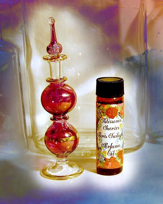 Perfume bottle, Perfume oil Paris Twilight, Egyptian hand blown glass perfume bottle and one half ounce of perfume oil in Paris Twilight