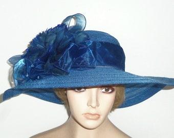 Wide Brim Blue Hat - Kentucky Derby Hat - Victorian Tea Party Hat