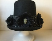 Tophat,Top Hat, Black Tophat,Fantasy Tophat,Boho Tophat,Day of Dead Tophat,Costume Tophat,Party Tophat,Skull Tophat