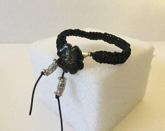 Bracelet,Friendship Bracelet,Flower Bracelet,Black Flower Bracelet,Knotted Bracelet,Macrame Bracelet,