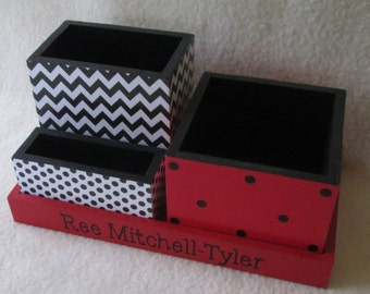 Red and Black Desk Organizer - Home Office Organizer -  Pencil Holder - Office Organizer - Black Chevron - Personalized - Gift