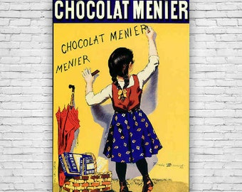 Chocolat Menier, by French Artist Firmin Bouisset, Vintage Advertising, Art Print Poster