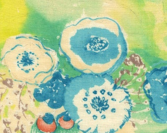 """Nani Iro Komorebi in """"Rainbow Window"""" abstract floral in teals, yellows, cotton double gauze fabric, by the yard"""