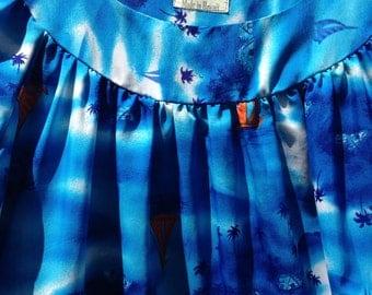 Vintage Hawaiian Blue Muumuu