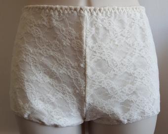 SALE ivory lace clubbing beach shorts xs