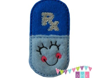 Rx HAPPY Pill Capsule Royal & Light Blue Pharmacist Pharmacy Felt Embroidered Embellishment Clippie Cover SET of 4  Multiple Sets Available