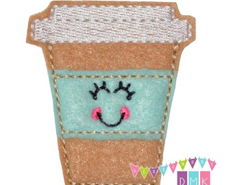Lisa the Latte - Mint - Felt Embroidered Embellishment Clippie Cover SET of 4