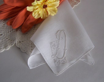 Vintage Wedding Handkerchief Monogrammed D Bride's Wedding Hanky in Antique White Wedding Keepsake Something Old Bridal Shower Gift