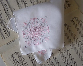 Wedding Hanky Mother of the Bride or Groom for Happy Tears, Wedding Memento, Pink and Silver Floral Bouquet Appliqued Vintage Handkerchief