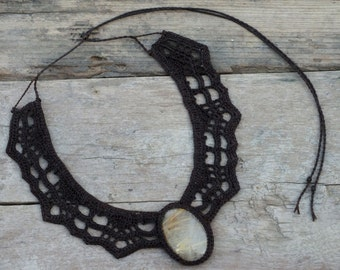 Rutilated necklace, Lace necklace, Brown necklace, Large necklace, Tribal necklace, Collar necklace, Crochet necklace, Statement necklace