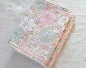 Baby Girl Burp Cloth Set. Vintage Flowers Soft Pinks, Greys and Cream. Baby Shower Gift. Newborn Gift. Nursing Essentials