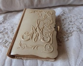 Antique French Latin religious missel prayer book missal bible w ivory bakelite cover w monogram M, gilded pages, lithograph w angels cross