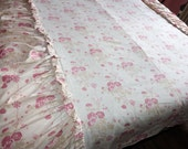Antique French bedspread throw coverlet bed spread w pink roses decor floral pastel fabric w valances, vintage French bed linens bedding