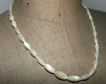 Mother of pearl necklace elegant antique French beaded pearl necklace w opal beads, French vintage jewelry accessories