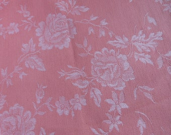 Vintage linen mattress ticking French ticking fabric, HUGE floral linen toile pink roses ticking, unused condition, French floral fabric