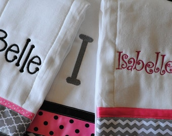 Personalized Burp Cloths set of 3 for 20