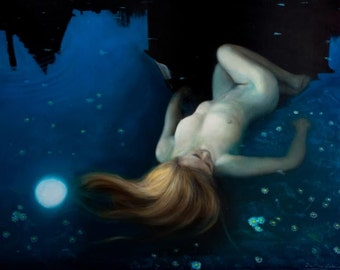 Ophelia : Original oil figure painting, female Nude Floating