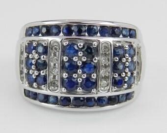 1.90 ct Diamond and Sapphire Anniversary Band Wedding Ring White Gold Size 7