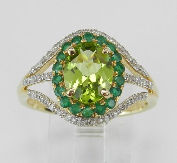 Diamond Emerald Peridot Engagement Promise Ring 14K Yellow Gold Size 8.25
