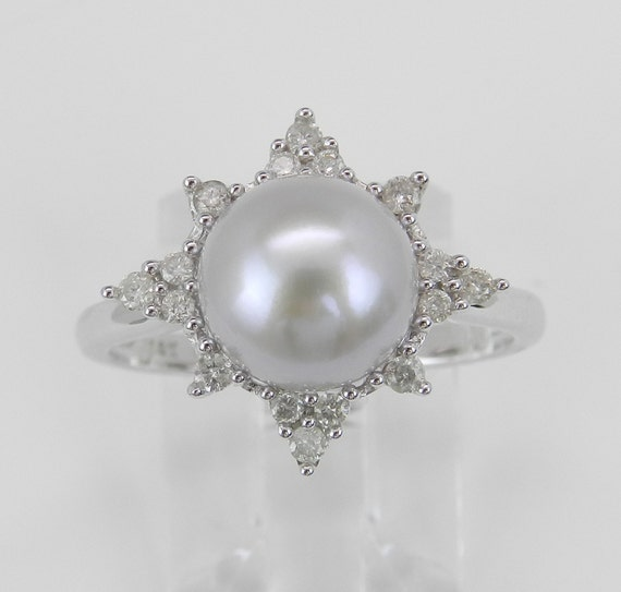 Diamond and Gray Pearl Halo Engagement Promise Ring June Birthstone 14K White Gold Size 7