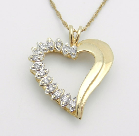 14K Yellow Gold Diamond Heart Pendant Necklace Chain 16""