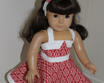 Red and white summer halter dress and headband for 18 inch doll.