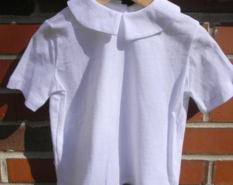 Peter Pan Collar Boys SHORT Sleeved KNIT Shirt- Sizes 3 months-6 Ready to Ship