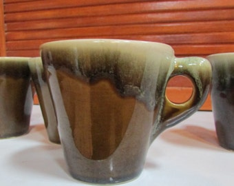 Vintage Green and Brown Hand Made Ceramic Coffee Mugs