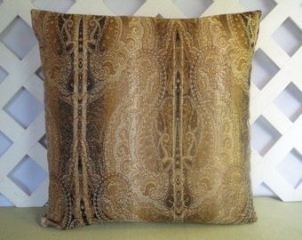 Brown Gold Beige Pillow Cover / Brown Gold Pillow / Accent Pillow / 18 x 18 Pillow