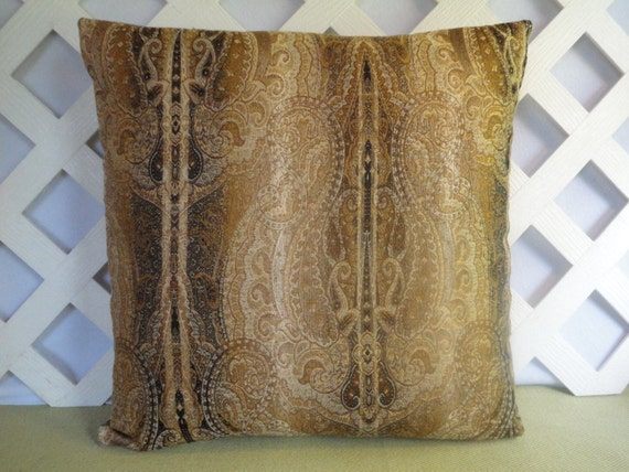 Brown gold beige pillow cover brown gold pillow accent for Beige and gold pillows