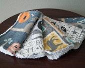 Neutral Baby Washcloths - Woodland - Fox - Owl - Black, White, Tan - Soft Cotton Washcloths